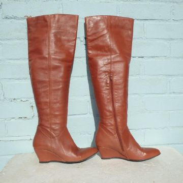 Bronx Brown Leather Boots Size Uk 5 Eur 38 Womens Sexy Thigh High Pull on Wedge
